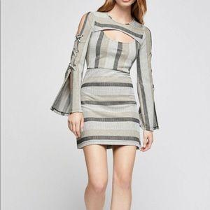 BCBGeneration Metallic Striped Cut-Out Mini Dress